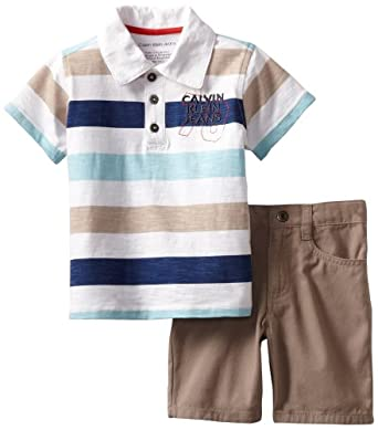 Calvin Klein Boys 2-7 Stripes Polo Shirt With Short, Blue/White, 2T