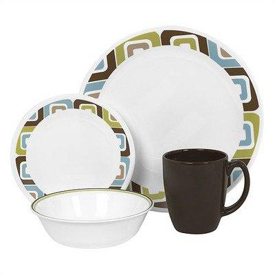 Corelle Livingware 16-Piece Dinnerware Set, Service for 4, Squared