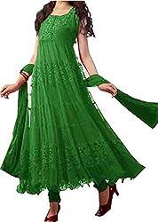 KD Enterprise Women's Soft Net Green Anarkali Dress
