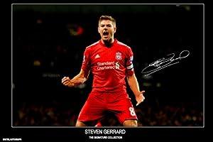 Steven Gerrard Signed Liverpool Autograph Print - Half Price