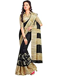 WXW Fashion Women's Velvet Saree With Blouse Piece(WXWAZYC50_Black)