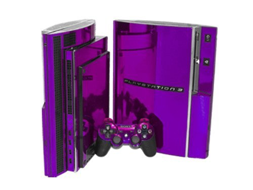 Sony PlayStation 3 Skin (PS3) - NEW - PURPLE CHROME MIRROR system skins faceplate decal mod (Mirror For Console compare prices)