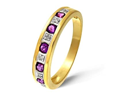 Ariel 9ct Yellow Gold Ladies Diamond and Amethyst Ring
