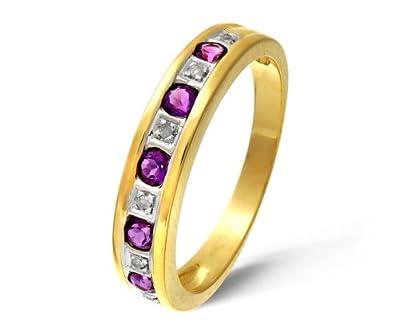 Ariel 9ct Yellow Gold Ladies Diamond and Amethyst Ring