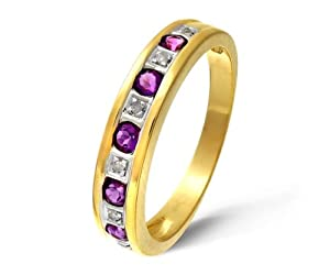 Bague Femme - Or jaune (9 carats) 2.45 Gr - Améthyste - Diamant 0.02 Cts - T 64.5
