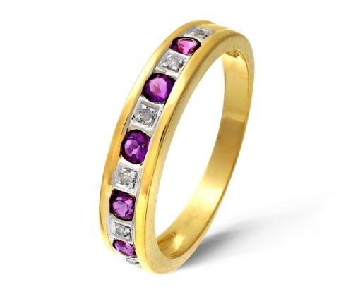 Eternity Ring, 9ct Yellow Gold Diamond and Amethyst Ring, Channel Set