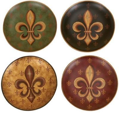 Set /4 Fleur Di Lis Wall Decor Ceramic Plates 10