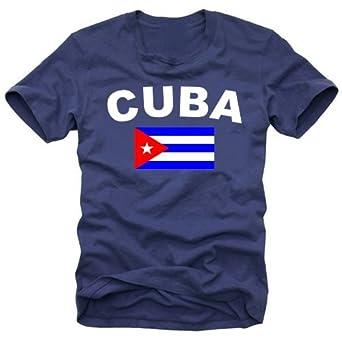coole-fun-t-shirts Herren t-shirt KUBA FLAGGE  - Cuba Libre  navy GR.S
