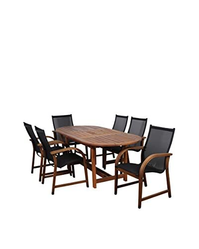 Amazonia Bahamas 7-Piece Eucalyptus Extendable Oval Patio Dining Set, Brown
