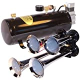 4 Trumpet Train Air Horn Kit - Fits Almost Any Vehicle: Truck, Car, Jeep or SUV. Includes Four Chrome Trumpets with All-In-One Air System: 110 PSI, 12-Volt Air Compressor, Tank, & More. Complete Kit