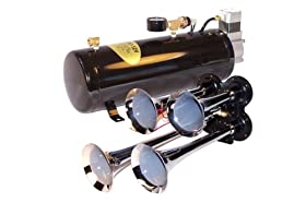 4-Trumpet Train Air Horn Kit with 110 PSI Compressor