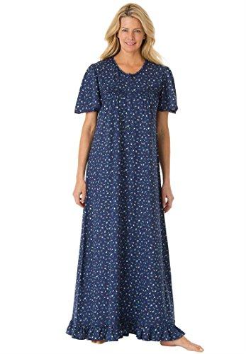 Dreams & Co. Women's Plus Size Long cotton knit gown #174; (DARK NAVY,M)