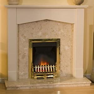 Tudor Botticino Fireplace And Adam Brass Electric Fire