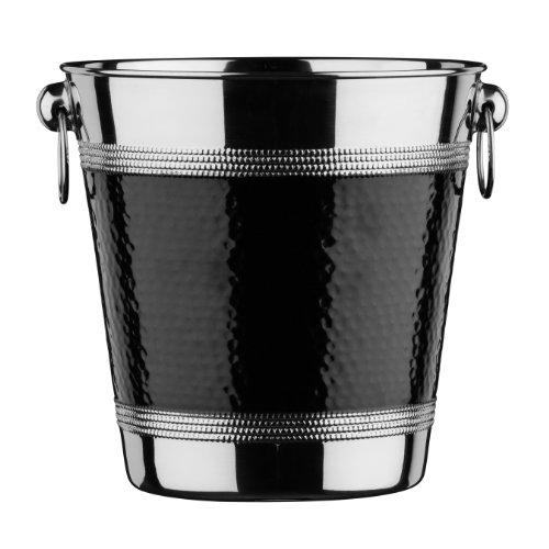 Premier Housewares 0507784 Seau de Champagne/Vin avec Bande en Acier Inoxydable Effet Martelé Noir