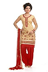 Ethnic For You Women's Cotton Salwar Suit Dress Material(ETH5952_Beige)