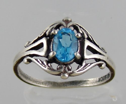 A Gorgeous Victorian Sterling Silver Ring Featuring a Beautiful Faceted Blue Topaz Gemstone