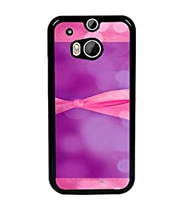 PrintDhaba Ribbon D-4955 Back Case Cover for HTC ONE M8 (Multi-Coloured)