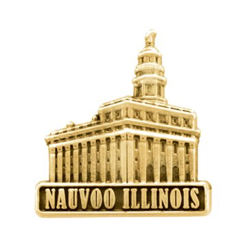 LDS Mens Nauvoo Illinois Temple Gold Steel Tie Tac / Tie Pin for Boys