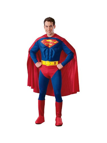 ADULT MENS CLASSIC SUPERMAN MUSCLE CHEST MOVIE/FILM FANCY DRESS COSTUME - MEDIUM