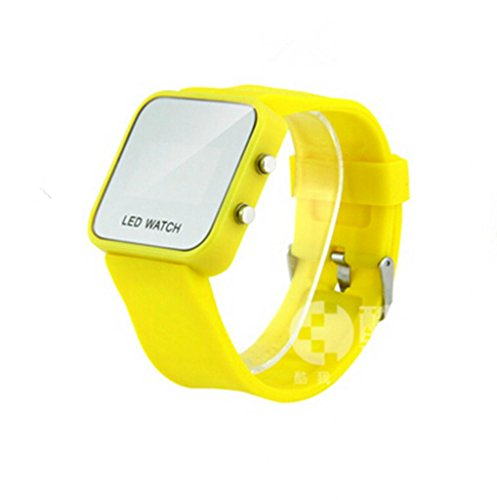 Exquisite Appearance Unisex Mirror Dial Digital Led Mirror Watch With Soft Rubber Material