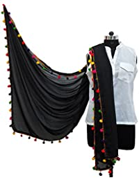 Multi Color Pom Pom Dupatta For Girls - Pompom Black Dupatta For Women By Ankita