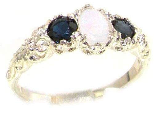 Ladies Solid Sterling Silver Natural Opal & Sapphire English Victorian Trilogy Ring - Size 12 - Finger Sizes 5 to 12 Available - Suitable as an Anniversary ring, Engagement ring, Eternity ring, or Promise ring