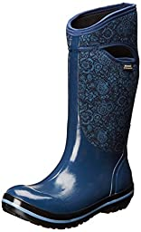 Bogs Women\'s Plimsoll Quilted Floral Tall Waterproof Insulated Boot, Indigo,11 M US