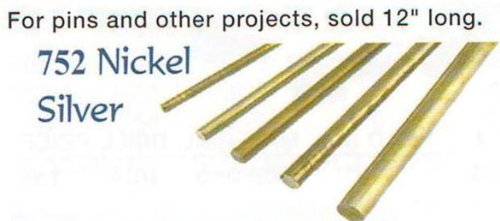 "Nickel Silver Roundstock Rod For Cutler'S Pins 1/16""X12"""
