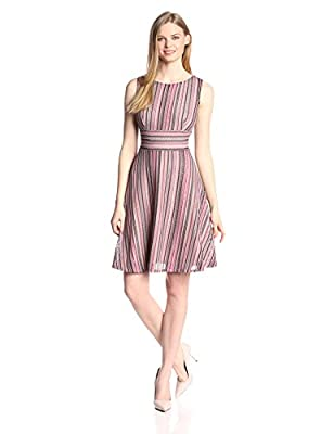 Gabby Skye Women's Sleeveless Stripe Fit and Flare Dress by Gabby Skye