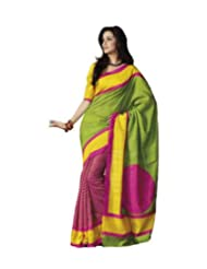 Lavs Pink-Green-Yellow Printed Bhagalpuri Silk Saree