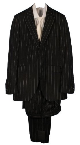 Holland Esquire Single Breasted City Stripe Suit - Black 42 chest 36 waist