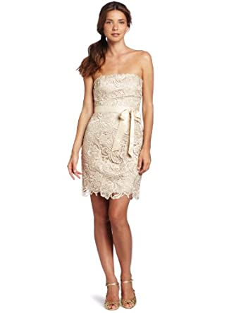 Adrianna Papell Women's Strapless Lace Sheath Dress, Champagne, 2
