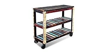 Crafters and Weavers Rustic Distressed Reclaimed Wood Cart / Bookcase / Sideboard / Multi Use Cabinet