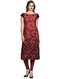 Ziyaa Women's Maroon Colour Digital Print Crepe Kurti