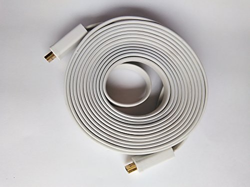 White 10 Meter 10M Flat Gold Plated Hdmi To Hdmi Cable For 1080P Hd 3D, Lcd, Ps3 - (30Ft Long)