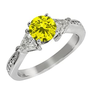 3.63 Ct Round Canary and G/H Diamond 925 Sterling Silver Engagement Ring