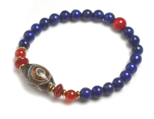 Tibetan 3 Eyed Protection Dzi Bead Bracelet with 6mm Lapis Lazuli Beads – Fortune Feng Shui Jewelry