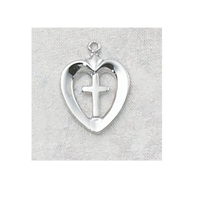 Sterling Silver Heart Cross Medal with 18