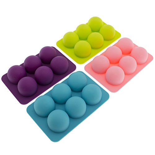 freshware-cb-650-silicone-6-cavity-round-chocolate-truffle-candy-and-gummy-mold-pack-of-4
