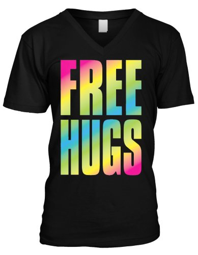 Oversized Rainbow Free Hugs Mens V-Neck T-shirt, Big and Bold Neon Free Hugs Men's V-neck Tee Shirt,  Black