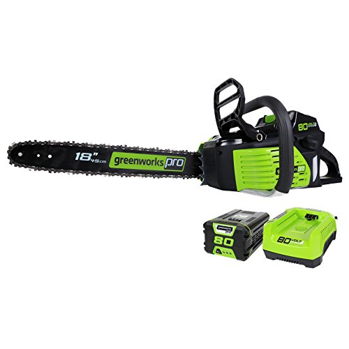 GreenWorks Pro GCS80420 80V 18-Inch Cordless Chainsaw, 2Ah Li-Ion Battery and Charger Included