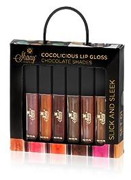 SHANY Cosmetics SHANY Cocolicious Lip Gloss Set No.1 Chocolate Shades Aloe Vera and Vitamin E, 6…