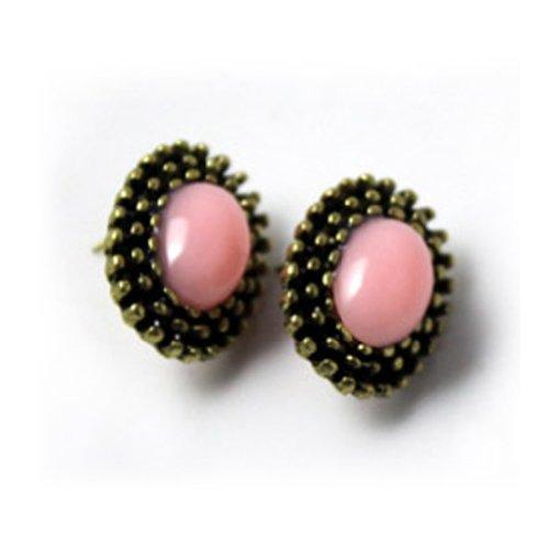 Zehui Women Retro Vintage Style Candy-Colored Oval Gem Ear Stud Earrings Fashion Pink