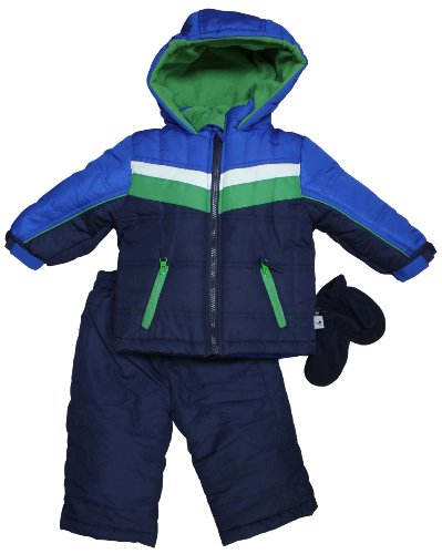 Rothschild Infant Boys Sports Stripe Snowsuit Jacket Set - Cobalt (24 Months)