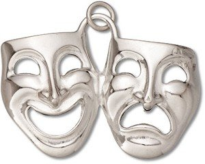 """Sterling Silver 18"""" .8mm Wide Box Chain Necklace With 3D Comedy And Tragedy Theater Actor Mask Pendant"""