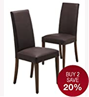 2 Alton Plain Leather Dining Chairs
