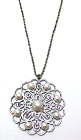 Anne Koplik Designs Sterling Silver Plated 16 Inch Pearl Filigree Medallion Necklace