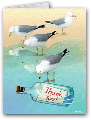 Beach Bottle Thank You Note - 10 Boxed Cards