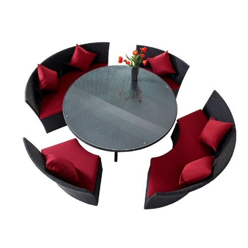 Outflexx Sitzgruppe Rondell Polyrattan w1, schwarz
