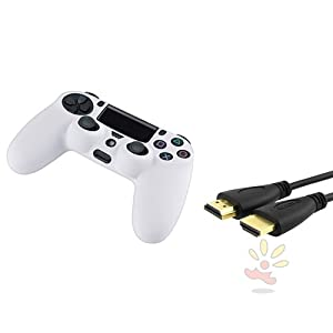 Everydaysource Compatible with Sony PlayStation PS4 White Silicone Controller Case + 15 FT / 4.6 M High Speed HDMI Cable M/M